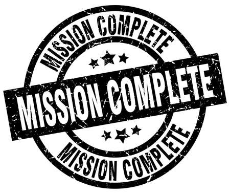 accomplish: mission complete round grunge black stamp Illustration