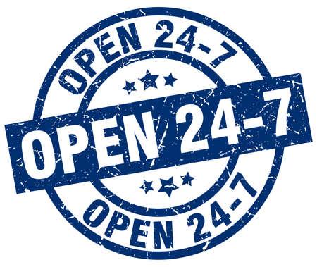 open 24 7 blue round grunge stamp