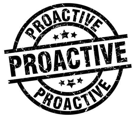 proactive round grunge black stamp Illustration