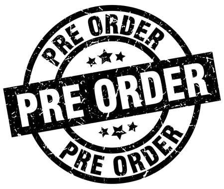 pre order round grunge black stamp