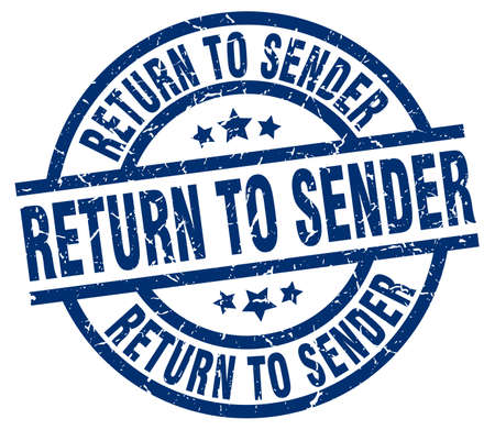 return to sender blue round grunge stamp