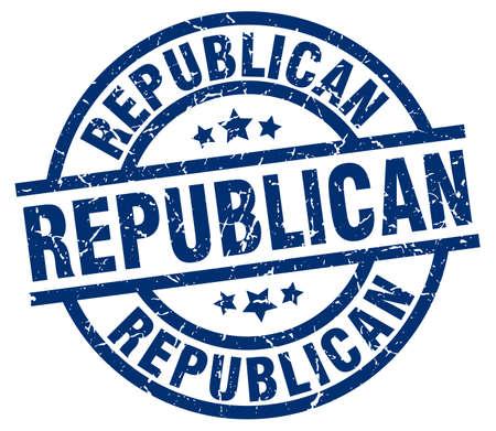 republican blue round grunge stamp