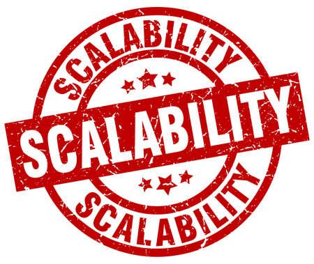 scalability round red grunge stamp