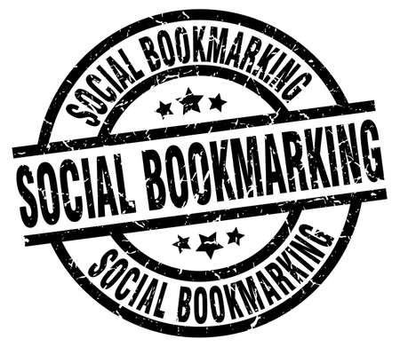 bookmarking: social bookmarking round grunge black stamp Illustration