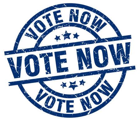 Vote now blue round grunge stamp. Illustration