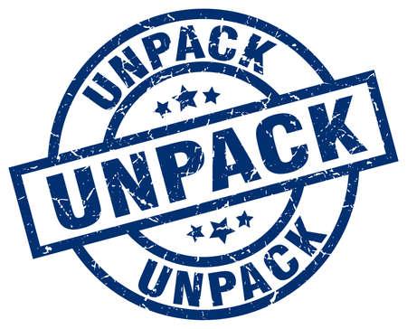 to unpack: Unpack blue round grunge stamp.