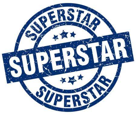 superstar: Superstar blue round grunge stamp.