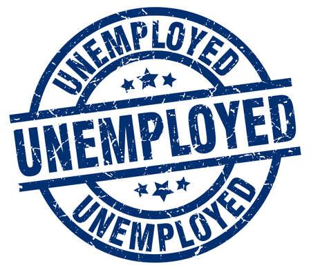 Unemployed blue round grunge stamp.