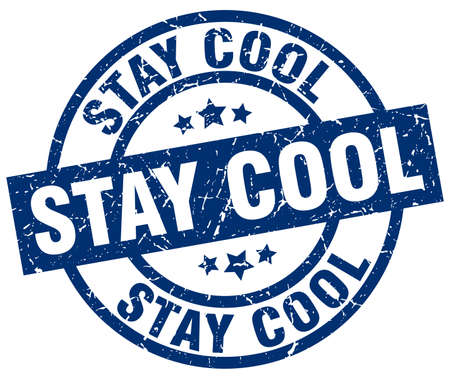 Stay cool blue round grunge stamp. Ilustrace