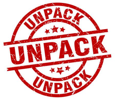to unpack: Unpack round red grunge stamp. Illustration