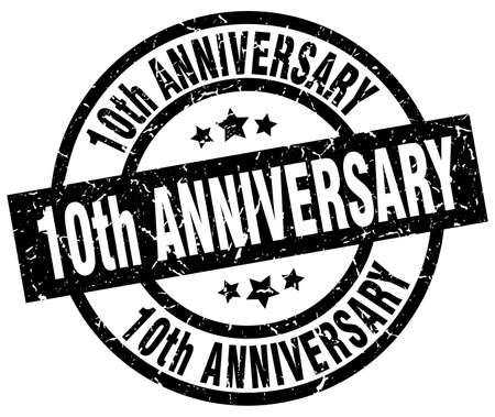 10th: 10th anniversary round grunge black stamp