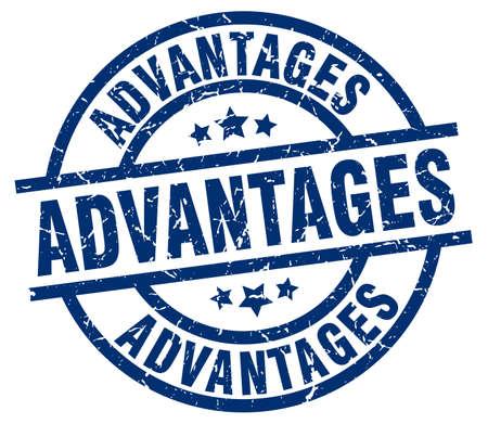 advantages: Advantages blue round grunge stamp