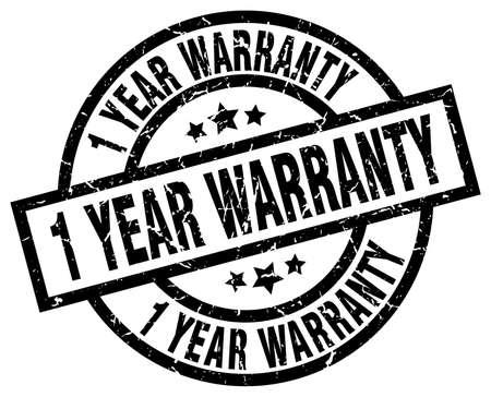 1 year warranty: 1 year warranty round grunge black stamp