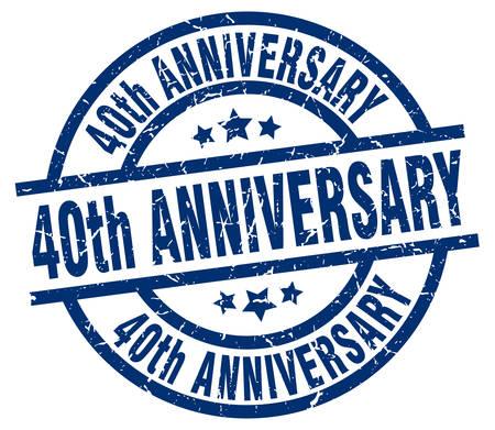 40: 40th anniversary blue round grunge stamp
