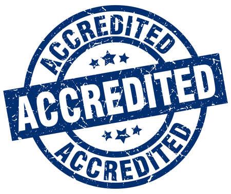 accredited: accredited blue round grunge stamp