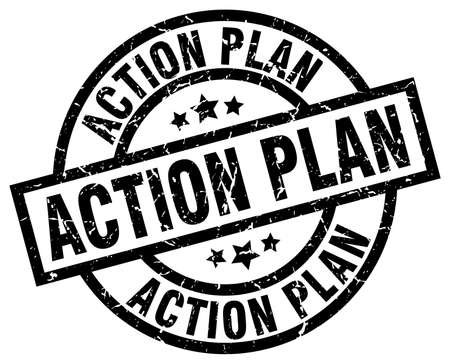 action plan round grunge black stamp