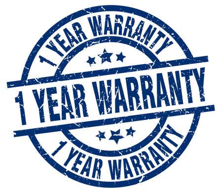 1 year warranty: 1 year warranty blue round grunge stamp Illustration