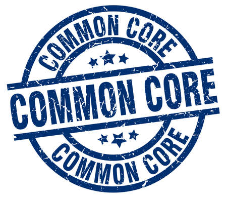 common core blue round grunge stamp Ilustrace