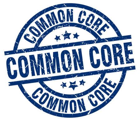 common core blue round grunge stamp Ilustração
