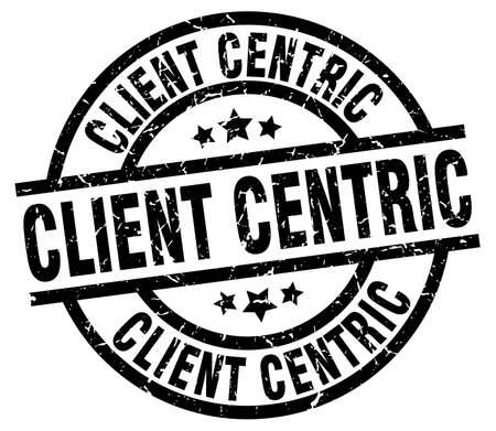 client centric round grunge black stamp Ilustração