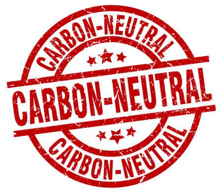 carbon neutral: carbon-neutral round red grunge stamp