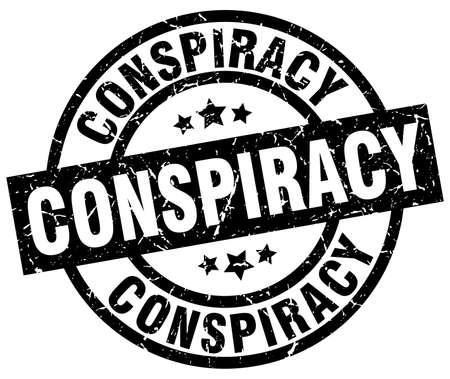 conspiracy round grunge black stamp Illustration