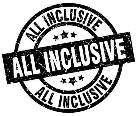all inclusive round grunge black stamp Ilustração