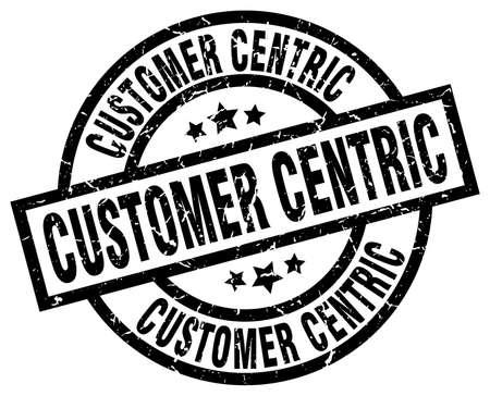 customer centric round grunge black stamp