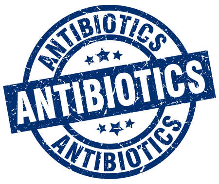 antibiotics: antibiotics blue round grunge stamp