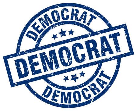 democrat blue round grunge stamp