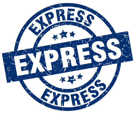 express blue round grunge stamp