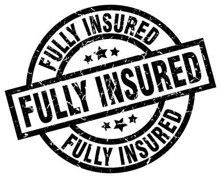 fully insured round grunge black stamp