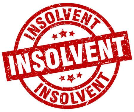 insolvent: insolvent round red grunge stamp