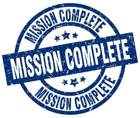 accomplish: mission complete blue round grunge stamp