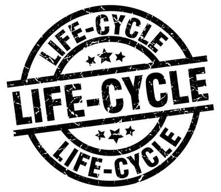 lifecycle: Ciclo de vida ronda grunge sello negro