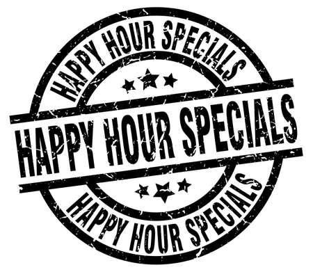 specials: happy hour specials round grunge black stamp