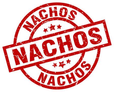 nachos round red grunge stamp