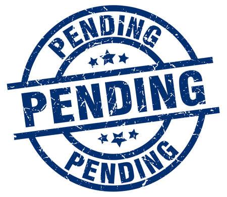 pending blue round grunge stamp