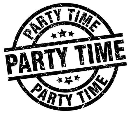 party time round grunge black stamp