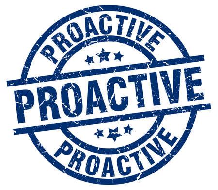 proactive: proactive blue round grunge stamp