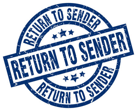 sender: return to sender blue round grunge stamp