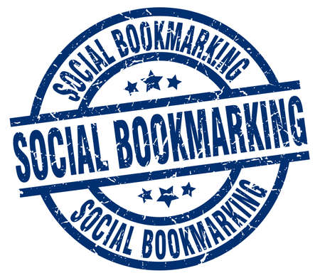 bookmarking: social bookmarking blue round grunge stamp