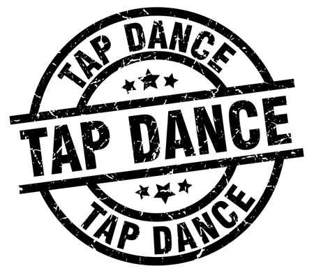 tap dance round grunge black stamp