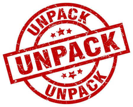 to unpack: unpack round red grunge stamp