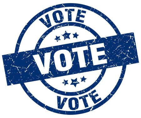 vote blue round grunge stamp
