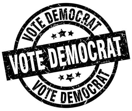 vote democrat round grunge black stamp