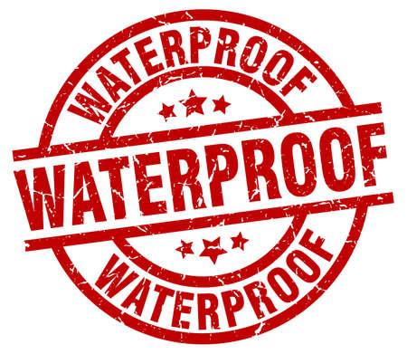 waterproof round red grunge stamp Ilustração