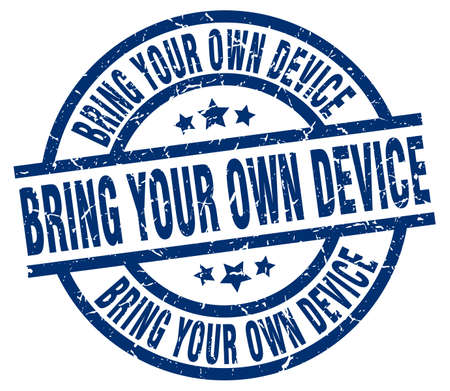 owning: bring your own device blue round grunge stamp Illustration