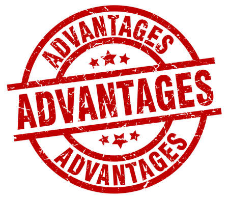 advantages: advantages round red grunge stamp