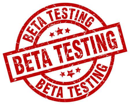 beta testing round red grunge stamp